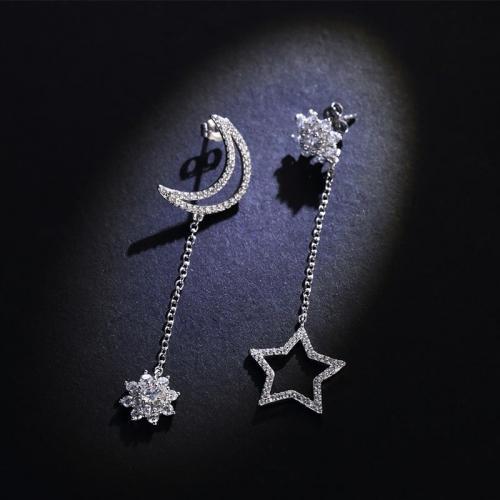 925银星星月亮不对称耳钉女长款显脸瘦的耳环饰