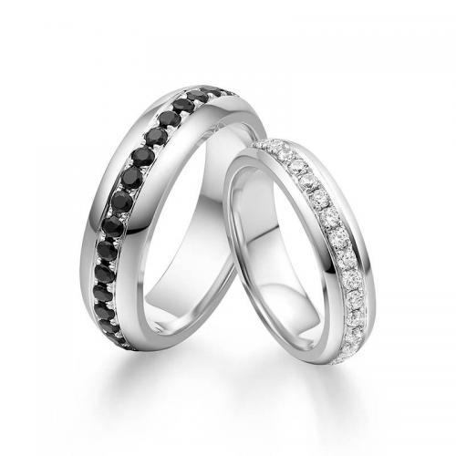 结婚对戒彩钻黑钻石低调奢华白金情侣戒