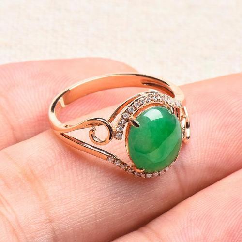 天然翡翠戒指阳绿蛋面玉石指环18K玫瑰金镶伴钻A货