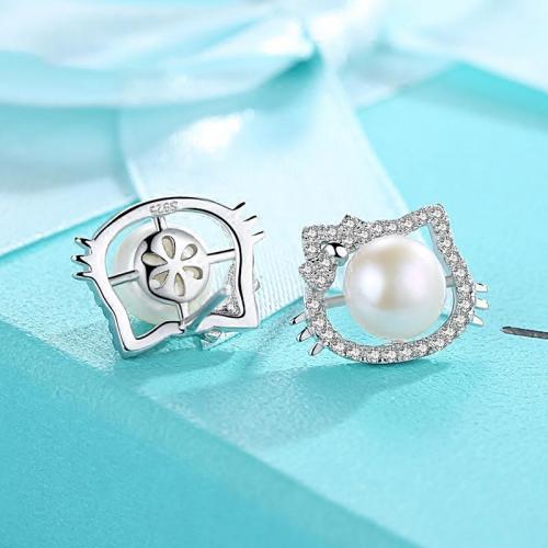 925纯银耳钉 简约气质女百搭耳饰个性学生韩国珍珠耳环不易过敏