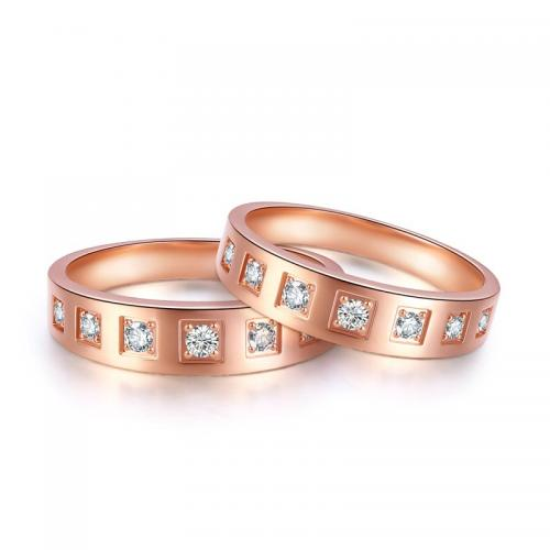 18K金钻石戒指男女款 结婚对戒 玫瑰金求婚钻戒 璀璨