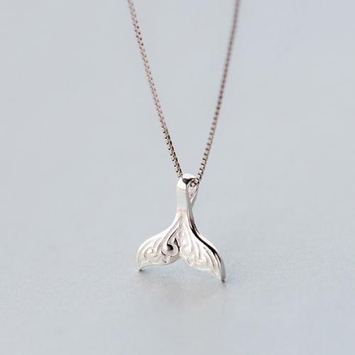 925银项链女时尚甜美鱼尾吊坠可爱美人鱼吊坠文艺锁骨链女