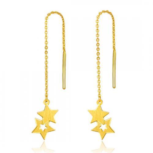 黄金星星耳线足金耳环耳饰女个性新品耳坠正品首饰