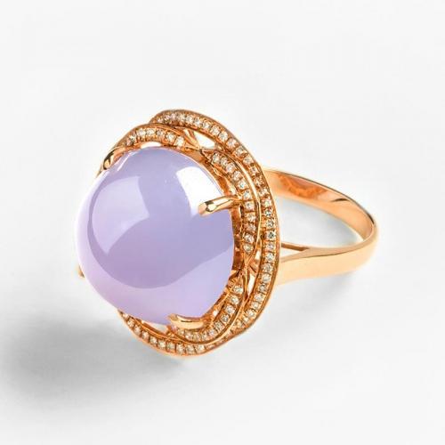 天然翡翠紫罗兰戒指18k金镶嵌钻石女款玉戒指珠宝