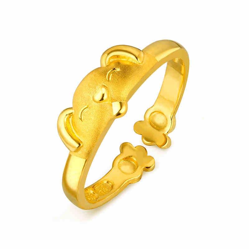 生肖狗黄金戒指女爱的抱抱足金指环开口戒