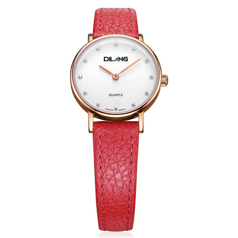 帝浪(DILANG)女士手表进口石英机芯简约女生手表防水送女友 E2 玫瑰金 红色皮带