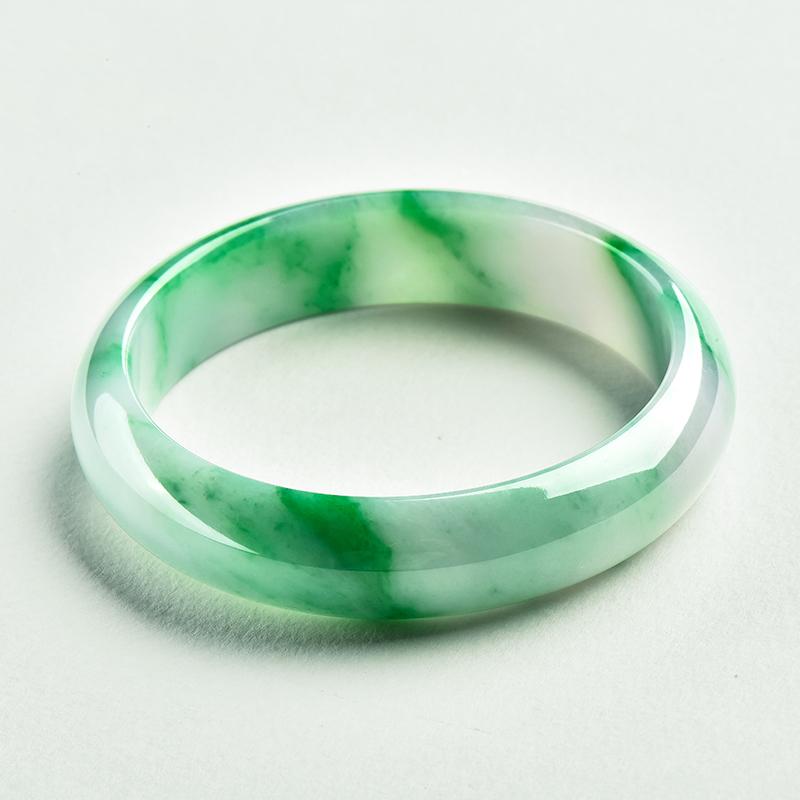 缅甸冰糯种飘阳绿翡翠手镯女满绿镯子玉手镯