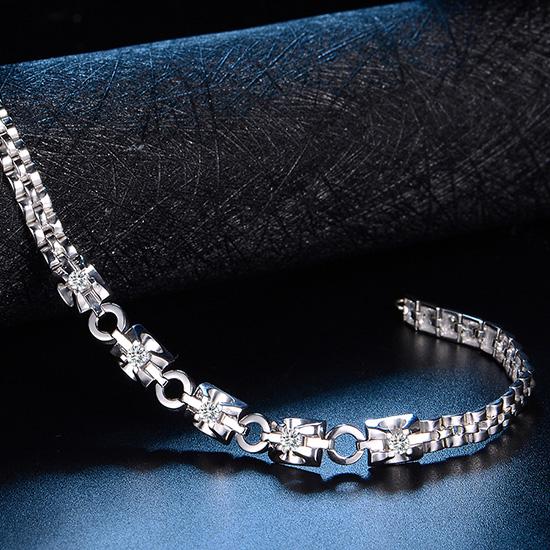 白金表链钻石手链18K金彩金黄金玫瑰金钻石手镯