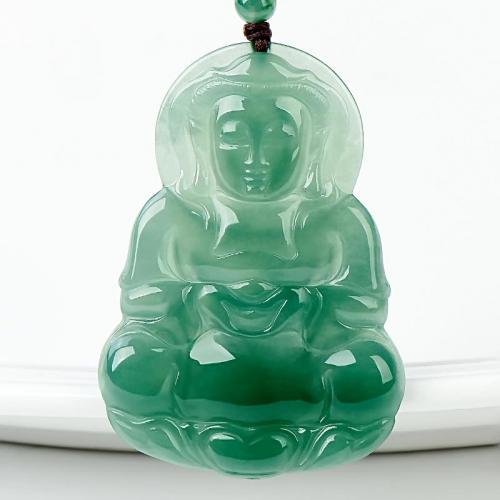 缅甸冰种满绿天然翡翠观音吊坠玉观音吊坠男款A货玉石吊坠