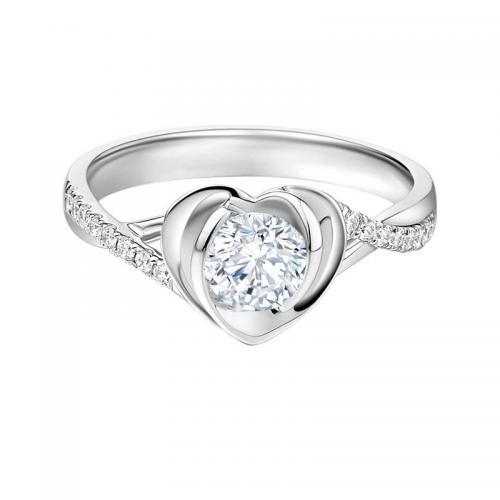 心蓝爱心系列 30分园钻石求婚钻戒订婚戒指