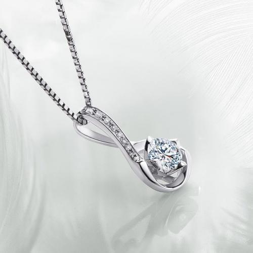 18K金钻石吊坠钻石项链女款单钻1克拉效果-丝缠