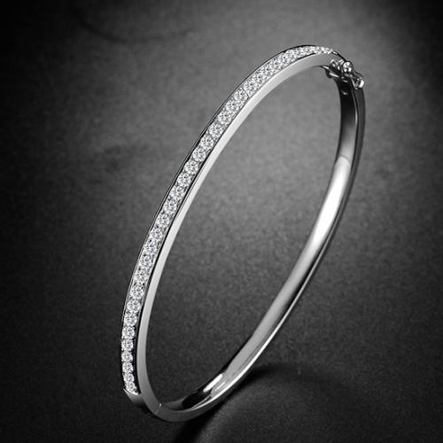 18K金钻石手镯时尚款白金钻石手镯 玫瑰金钻石手环手链