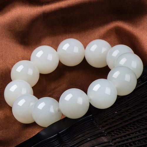 和田羊脂级白玉手链珠子男女款18-18.2mm正品