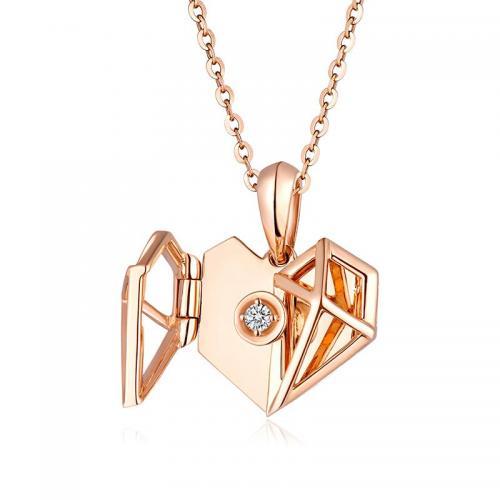 铭心系列双层心形18K金钻石吊坠镭射刻画头像