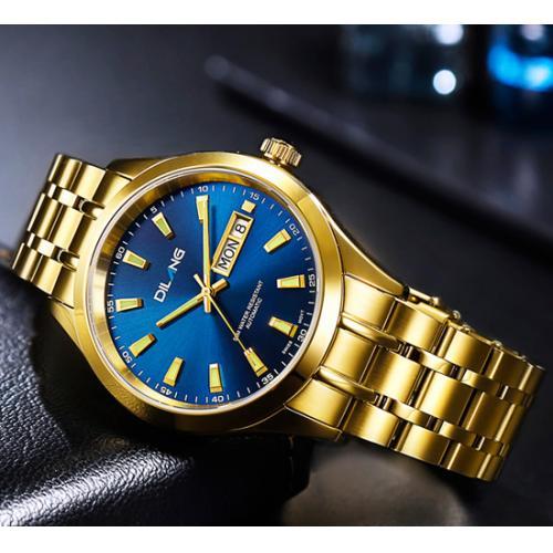 帝浪(DILANG)手表男进口自动机械机芯钢带皮带双日历商务金色