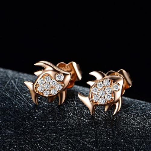 18K金玫瑰金鱼儿钻石耳钉定制彩金白金黄金耳环耳坠