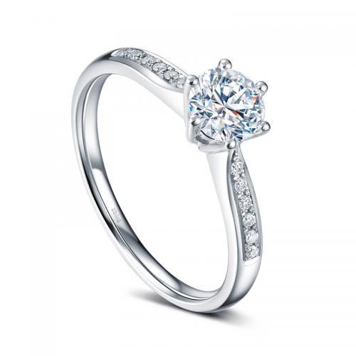 18K金钻石戒指-30分E色求婚订婚结婚钻戒女款-甄爱