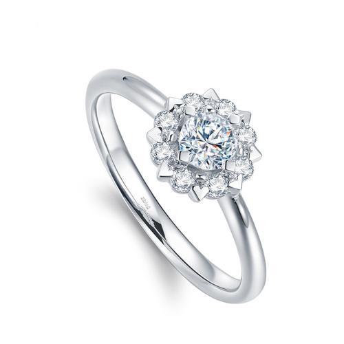 Desire/德西尔18K金群镶钻戒-心缘-1克拉效果钻石求婚戒指女款