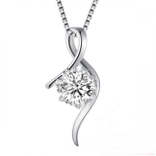 白18K金钻石吊坠钻石项链女款白金铂金锁骨链钻石群镶单钻