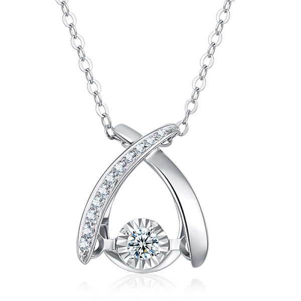 DESIRE/德西尔珠宝 18K金钻石吊坠女款单钻定制铂金项链