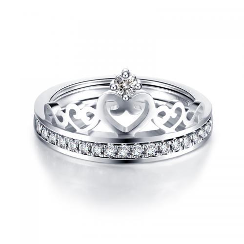18k金钻石戒指 白金皇冠钻戒女戒 定制铂金玫瑰金情侣对戒