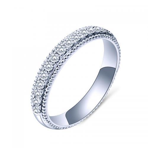 18K金钻石戒指白金钻戒女排钻排戒护戒尾戒定制彩金铂金