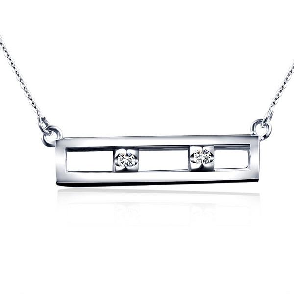 18K金钻石项链 白金彩金钻石吊坠锁骨链套链颈链