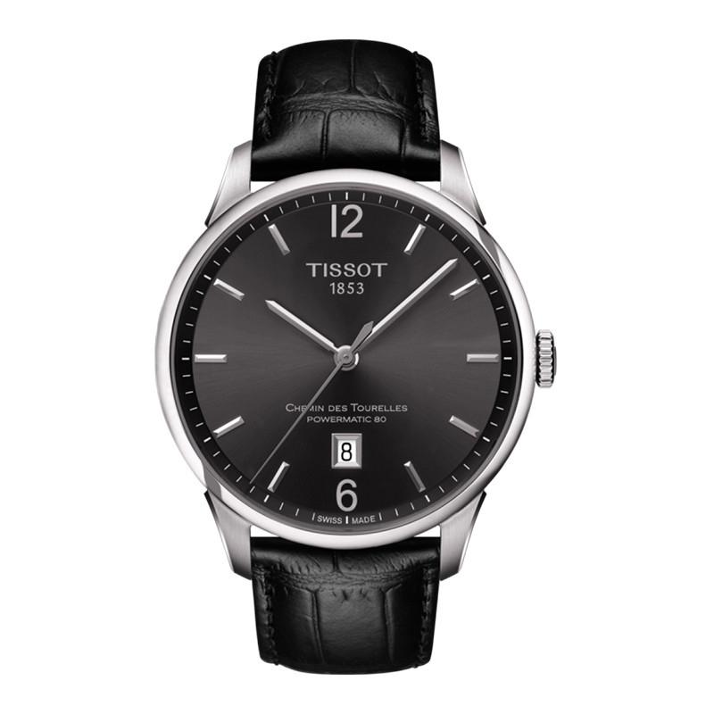 天梭(TISSOT)瑞士手表 杜鲁尔皮带男表全自动机械手表原装钢带腕表T099.407.16.447.00