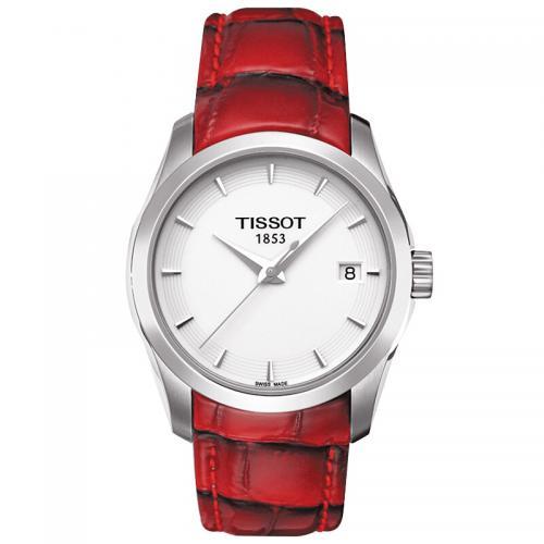 天梭(TISSOT)瑞士手表 库图石英女手表皮带女表腕表T0...