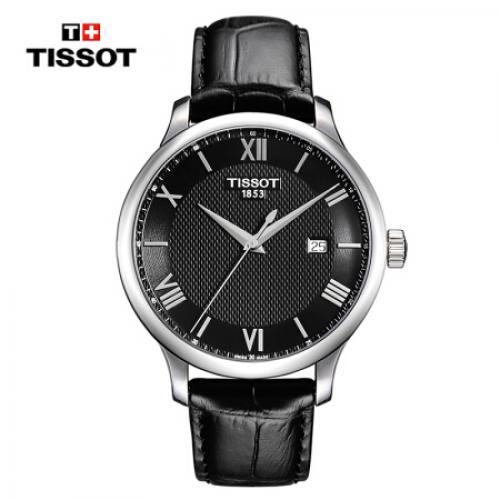 天梭(TISSOT)瑞士手表 俊雅系列皮带石英男士手表T063.610.16.058.00