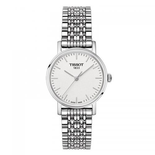 天梭(TISSOT)瑞士手表 魅时系列简约钢带石英女士手表T...