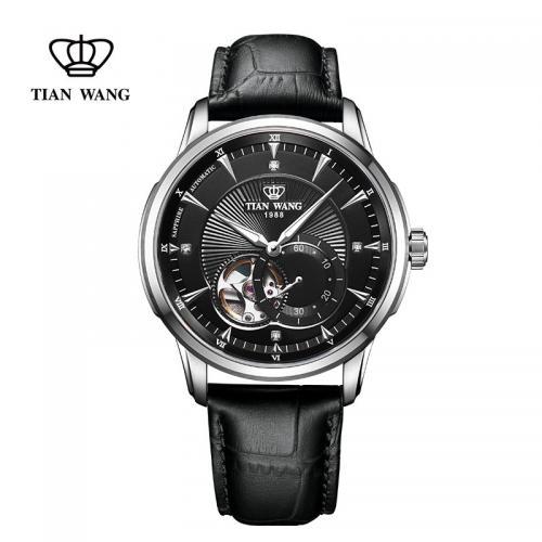 天王表(TIANWANG)手表 轮时代系列男士商务休闲皮带机...